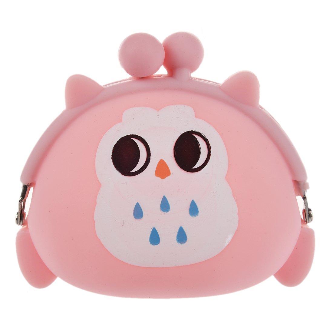 Ruikey portable mignon Cartoon hibou Silicone gelée rose porte-monnaie pochette clés poche pour pièce de monnaie, téléphone, cosmétique, et plus