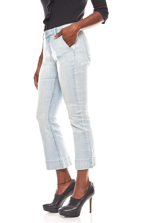 rick cardona verkürzte Hose Damen Flared Jeans Denim Hellblau Slim Fit SALE