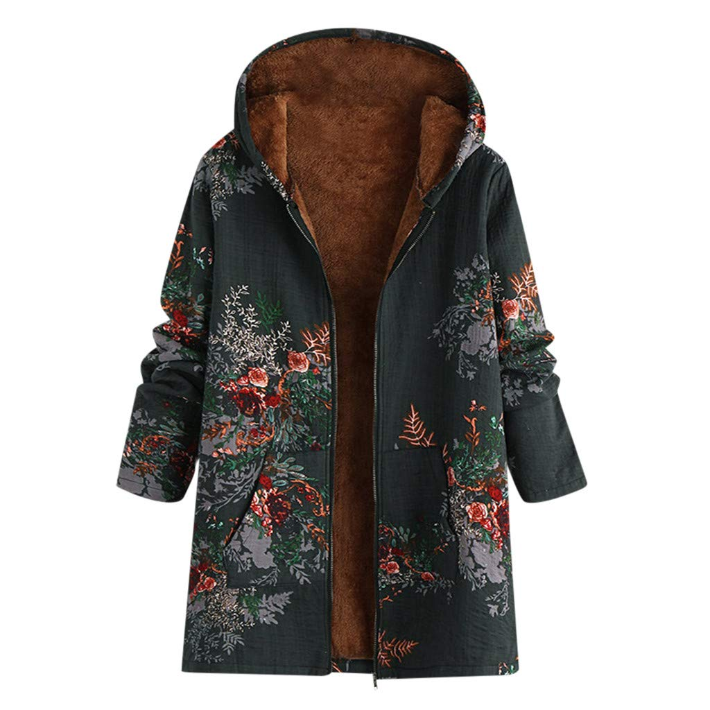 Fammison Women Fleece Hooded Open Front Long Sleeve Fuzzy Sherpa Loose Warm Winter Pockets Coat Jacket Outwear Green by Fammison