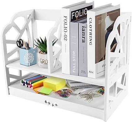 Cocoarm Desktop Book Shelf 2 Tiers Wooden DIY Shelf CD Book Storage Box Unit Display Bookcase Shelf Organizer Holder Makeup Rack Desktop with Anti-toppling Device for Home Office Kitchen Bedroom