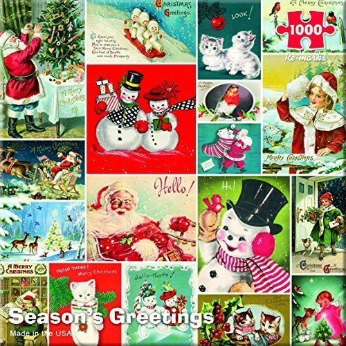 Re-marks Vintage Season's Greetings 1000 Piece (Seasons Greetings Snowman)