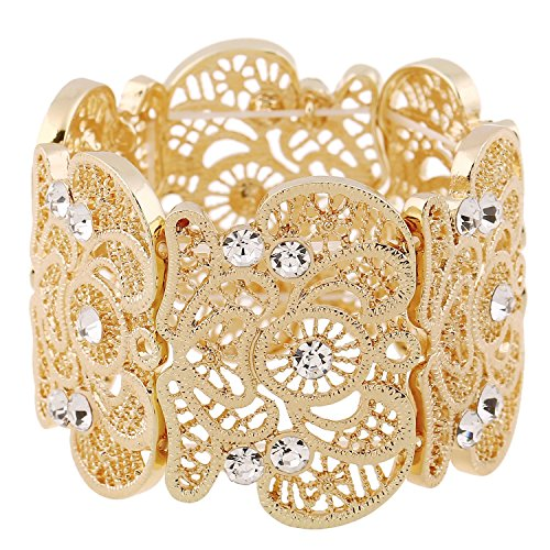 D EXCEED Womens Bohemian Lace Bracelet Vintage Filigree Cuff Bangle Bracelet Wide Stretch Rhinestone Bracelets for Ladies Gold