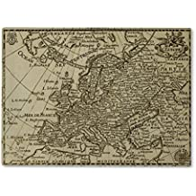Gear New Glass Cutting Board and Serving Dish, Old Map Europe, also makes great accent decor piece, 11x8, 2081840GN