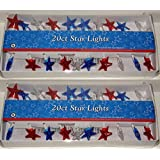 Star String Lights Red White and Blue Electric Indoor Outdoor (Pack of 2)