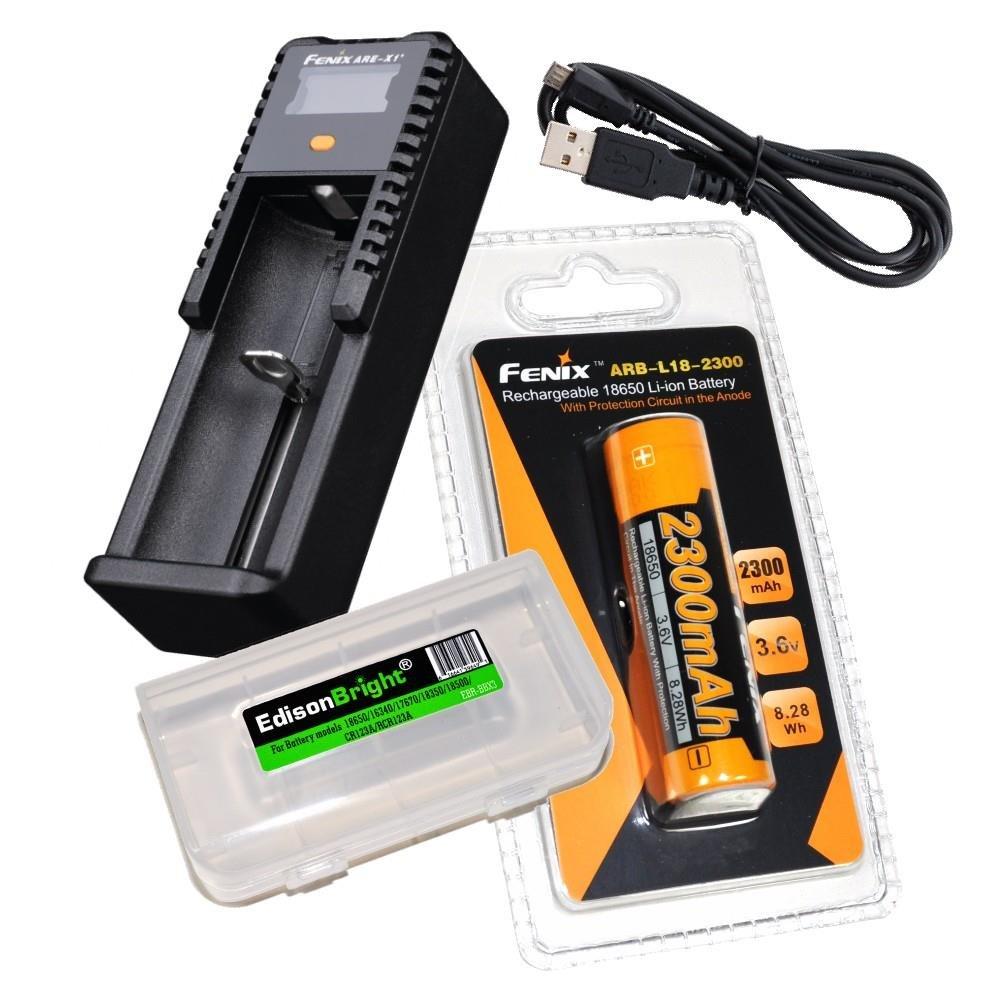 Fenix ARE-X1+ Plus battery charger, Fenix ARB-L-18-2300 18650 Li-ion rechargeable battery with EdisonBright Battery carry case bundle