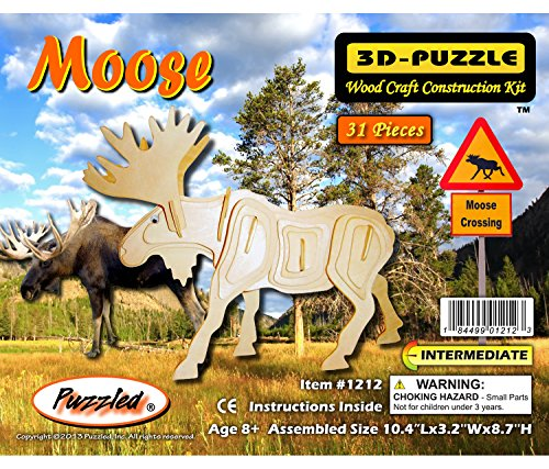 Puzzled 1212 3D Moose (31 Piece), Tan, One Size