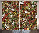 Casino Decorations Curtains By Ambesonne, Doodles Style Art Bingo Excitement Checkers King Tambourine Vegas, Living Room Bedroom Decor, 2 Panel Set, 108 W X 90 L Inches