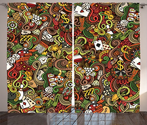 Casino Decorations Curtains By Ambesonne, Doodles Style Art Bingo Excitement Checkers King Tambourine Vegas, Living Room Bedroom Decor, 2 Panel Set, 108 W X 84 L Inches by Ambesonne