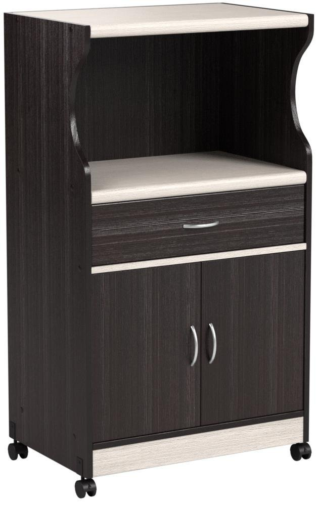 Hodedah Microwave Cart with One Drawer, Two Doors, and Shelf for Storage, Chocolate by HODEDAH IMPORT (Image #6)