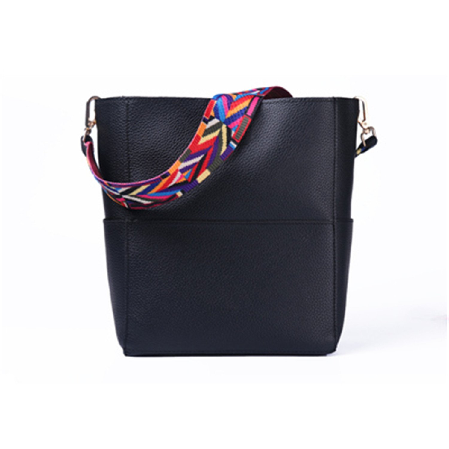 Toping Fine Bucket bag Women Leather Wide Strap Shoulder bag Handbag Large Capacity Crossbody bag Color 5 Black: Handbags: Amazon.com