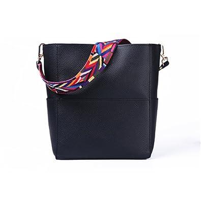 Beautface Makeup Bucket bag Women Leather Wide Strap Shoulder bag Handbag Large Capacity Crossbody bag Color