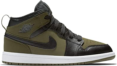 new style a3a2f d78e9 Nike Jordan 1 MID (PS) Boys Fashion-Sneakers 640734-301_3Y - Olive  Canvas/Black-White