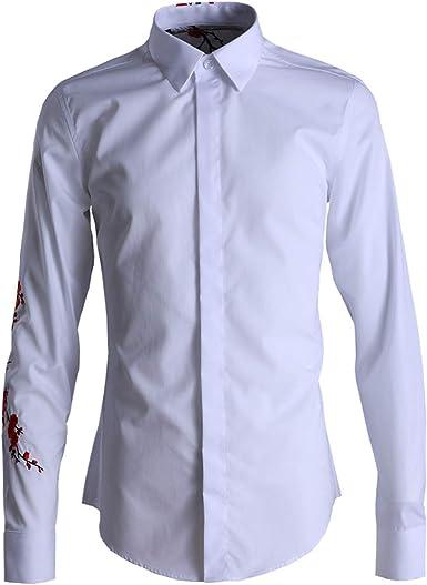 Fashion Camisa Bordada para Hombre Camisa de Manga Larga para ...