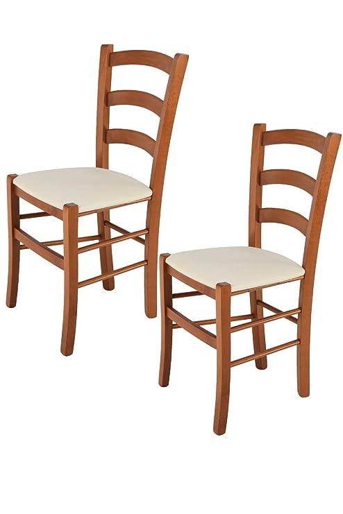 Sedie Classiche Imbottite Per Sala Da Pranzo.Tommychairs Set 2 Sedie Classiche Venice Per Cucina Bar E Sala Da Pranzo Con Robusta Struttura In Legno Di Faggio Verniciata Color Ciliegio E