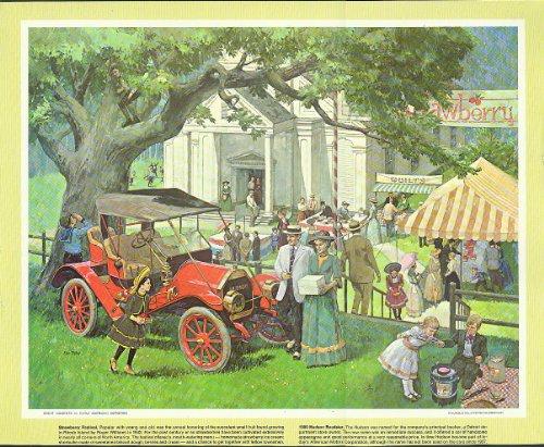 1909 Hudson Roadster at Strawberry Festival Humble Oil calendar print 1960s