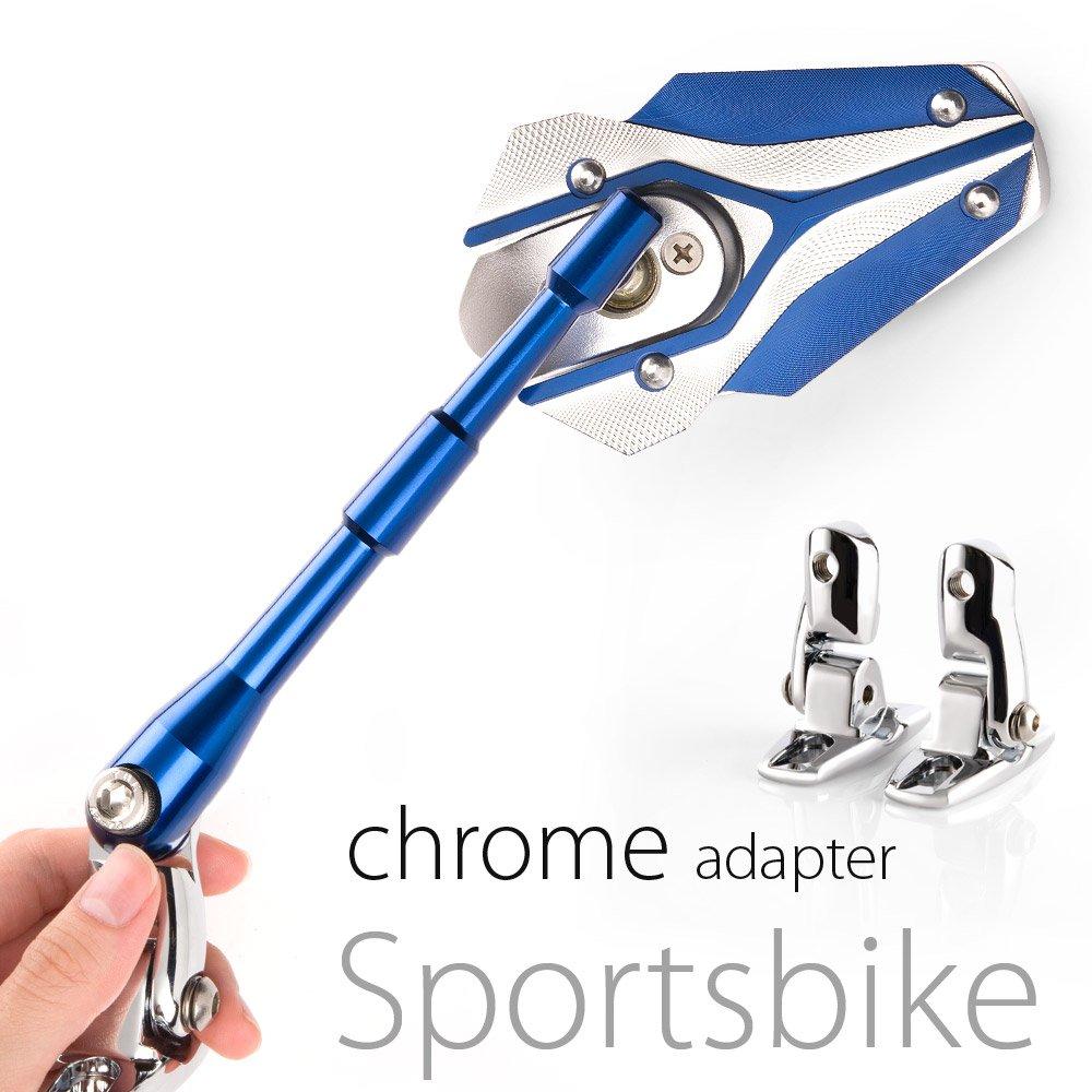 MAGAZI マガジ バイパー バイクミラー カウリングミラー フェアリングミラー 銀色と青  フェアリング取付 クロムのアダプター  一対 B00CHJ4BHA