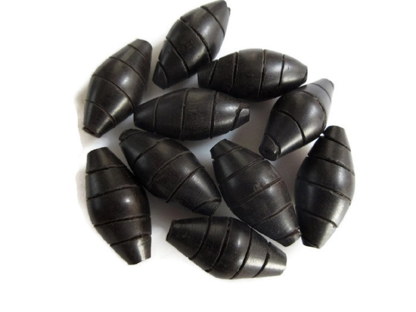 100 Pieces Drum Shaped Hand Carved Natural Ebony Wood Beads, Smooth Wooden Supplies Jewelry, GDS1045/13