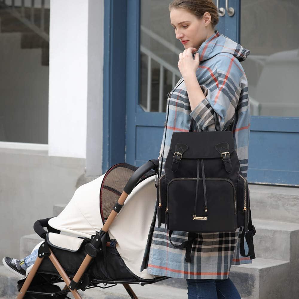 Negro Hafmall Mochila para Pa/ñales Impermeable y Elegante Bolsa de Pa/ñales para Beb/és para Viajes con Bolsillos Aislados