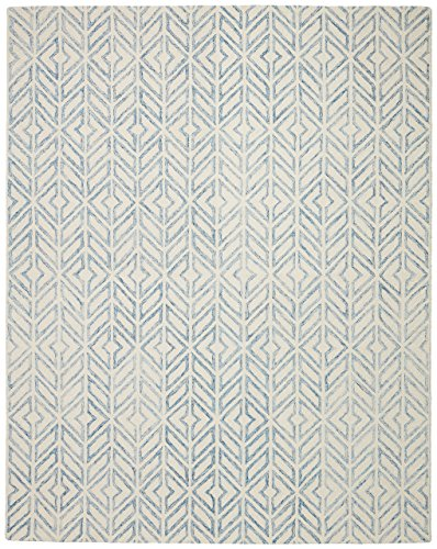 Rivet Modern Geometric Wool Area Rug, 4 x 6 Foot, Blue