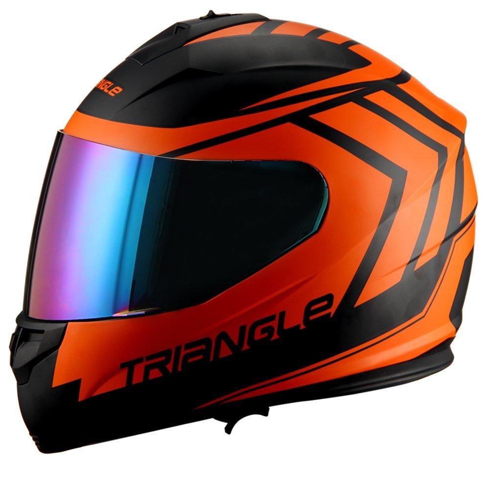 Triangle motorcycle full face dual Visor helmets (Large, Matte Black/Orange)