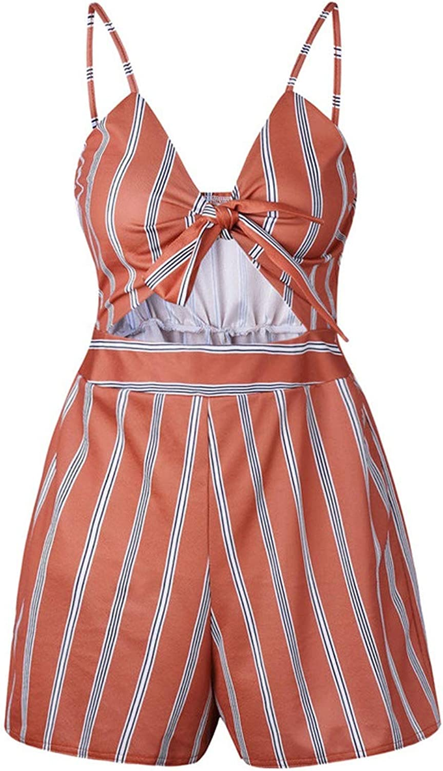 Women Summer Bow Knot Off Shoulder Playsuit Beach Party Sweet Overalls,Red,XL