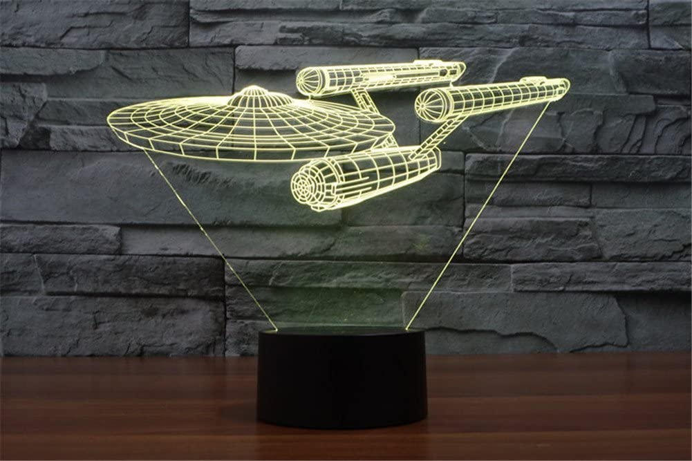 LOTOS Star Trek Battleship 3D Optical Illusion Multi-colored Change Touch Botton Desk Lamp Table Light