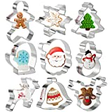 KAISHANE Christmas Cookie Cutters Set of 9 - Star Tree Angel Bell Stocking & More Shapes Stainless Steel