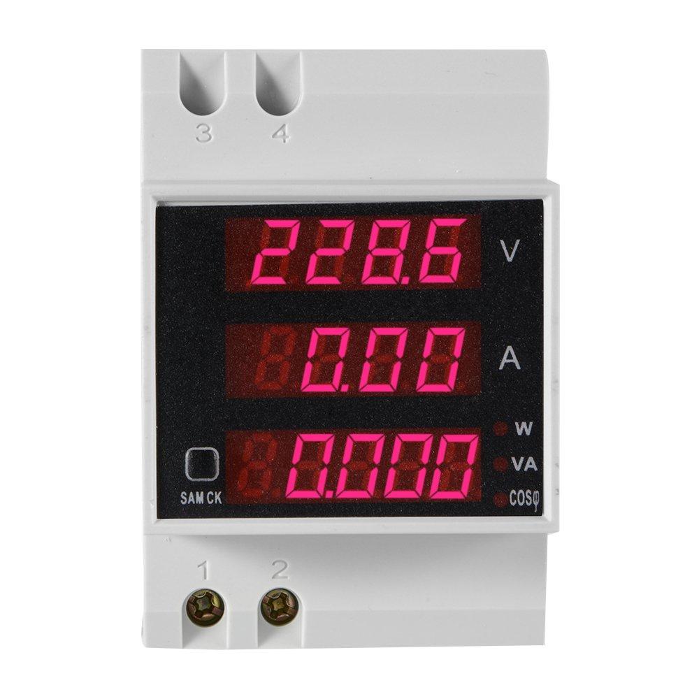 XCSOURCE D52-2048 Multi-fonctionnel Amp/èrem/ètre Voltm/ètre RAIL DIN LED Affichage Volt AMP Compteur Facteur de Puissance Active AC 80-300V 0-100.0A BI629