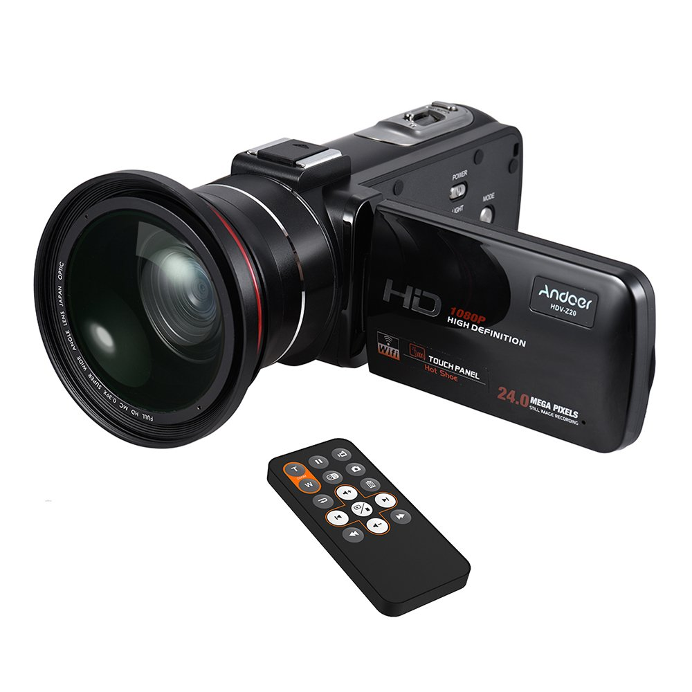 Camcorder, Andoer Video Camera 1080P HD 16X Digital Zoom WiFi Video Camcorder Night Vision 3 Inch Rotatable LCD Touchscreen with 0.39X Wide Angle + Macro Lens