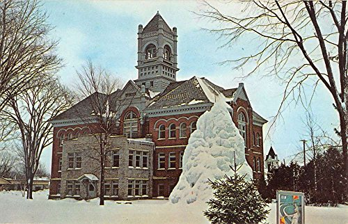 Court Ice - Gaylord Michigan Ice Castle Court House Street View Vintage Postcard K33579
