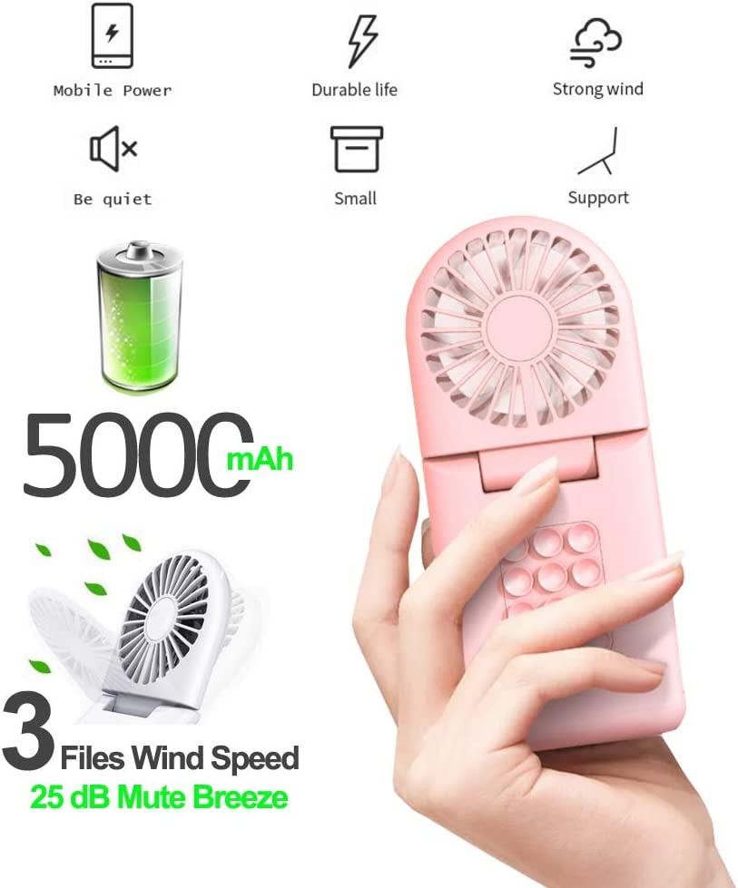 Portable Fan with USB Rechargeable Battery 5000mAh 5V USB Power Bank /for Office Room Outdoor Household Traveling Mini Portable Charger with Handheld Fan Sucker Cellphone Holder Pink