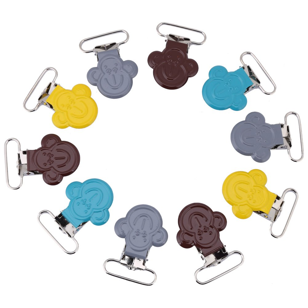Pacifier Suspender Clips, 10Pcs/Lot 25mm Mini Monkey Shaped Suspender Braces Clips Holder for Bibs and Toys Wal front