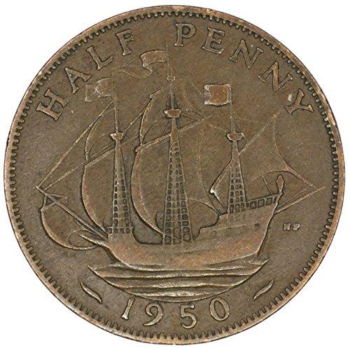 1950 UK Great Britain George VI Bronze Halfpenny Good