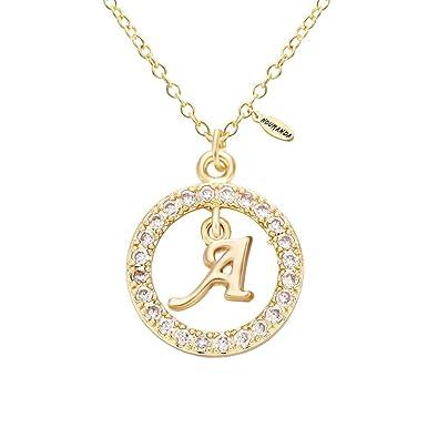 51f8c8ef6c90a NOUMANDA Shiny Zircon 26 Alphabet English Letters Golden Initial Disc  Charms Necklace