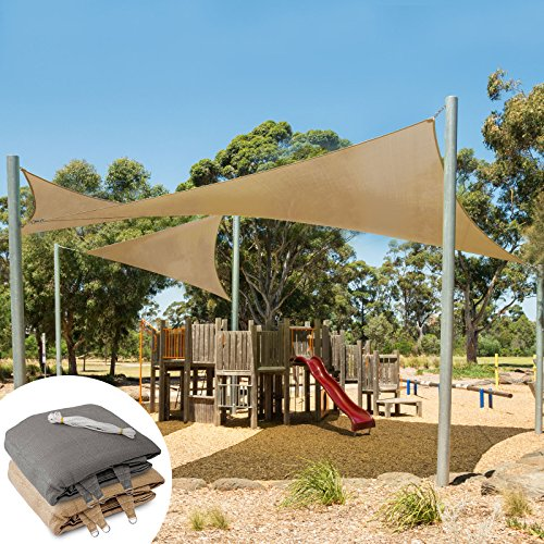 casa pura Sun Shade Sail | Shade Cloth, Protect Against UV | Sun Shades for Patio and Garden | Triangle | Multiple Sizes | Beige - 16' x 16' x 16'