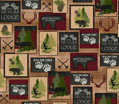 Wildlife Fabric Moose Trail Lodge Patch in Tan from Quilting Treasures 100% Premium Quality Cotton Fabric by The Yard