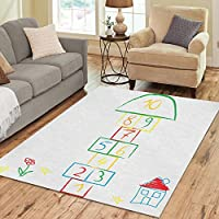 InterestPrint Doodle Hopscotch Rug Carpet 7 x 5 Feet, Hopscotch Game Modern Area Rug Floor Mats for Children Kids Playroom Bedroom Decor
