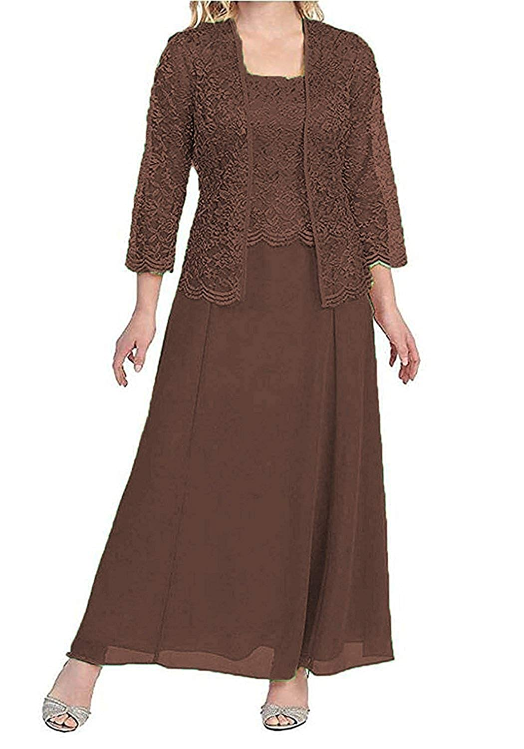 Coffee Mother of The Bride Dresses with Jackets Formal Evening Gowns Long Sleeves Lace Mother Dress