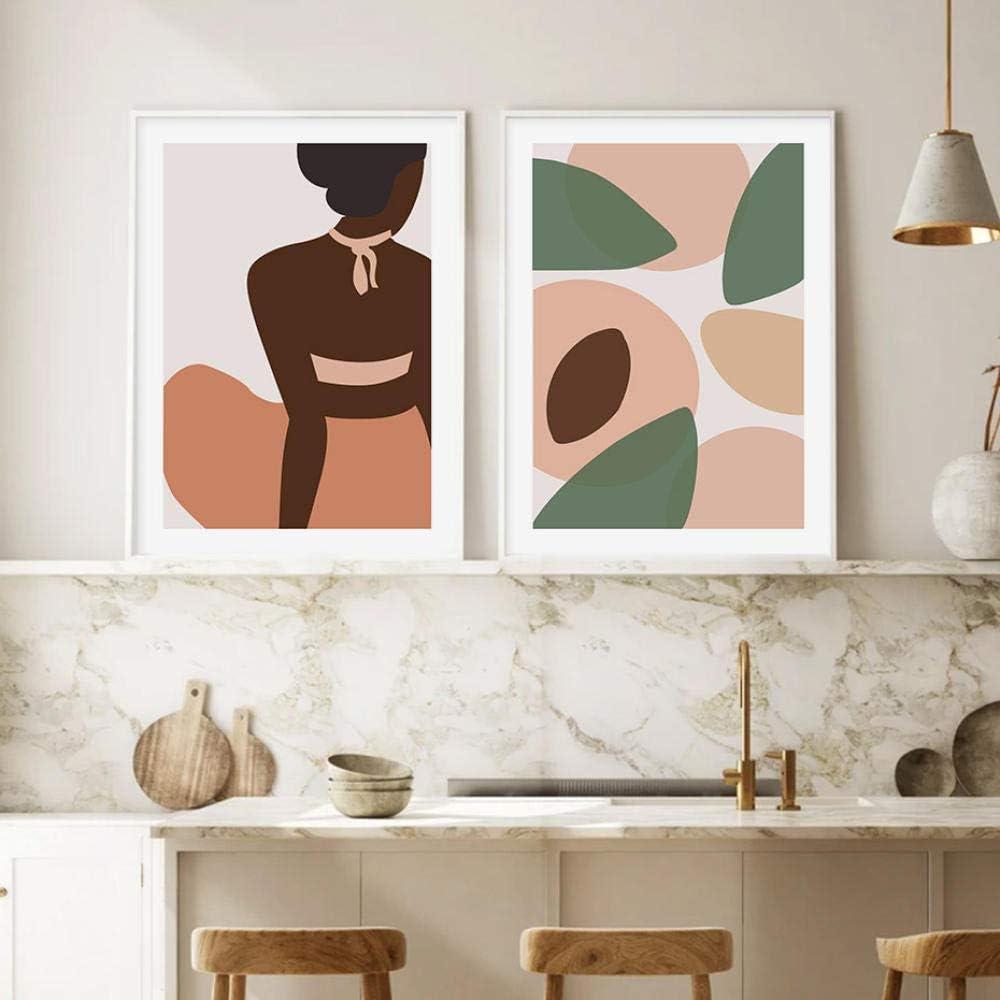 SHUTIAOQUN Círculos Abstractos Coloridos Galería Moda Mujer Lienzo Pintura Arte de la Pared Cartel Imprimir imágenes Sala de Estar Decoración Interior del hogar 40 * 50 cm * 2 sin Marco