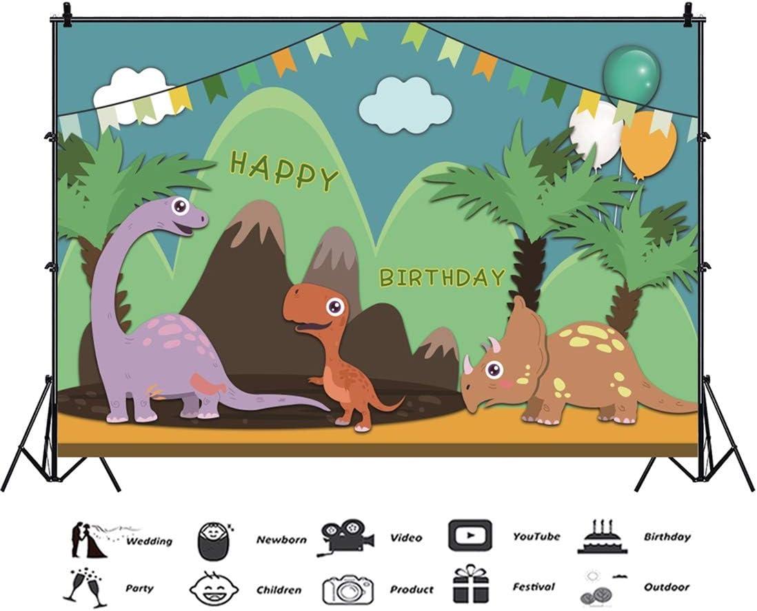 Yeele Birthday 10x8ft Photography Background Dinosaur Birthday Party Decoration Jurassic Animal Primeval Forest Cartoon Photo Backdrop Baby Child Portrait Shooting Studio Props
