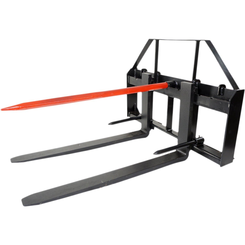 Titan 48'' Skid Steer Pallet Fork Attachment w/49 Bale Spear & 2 Stabilizers by Titan Attachments