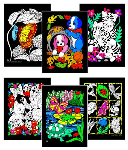 Puppies, Pond, Kittens, Butterfly, Tiger, Insect - Six 8x10 Fuzzy Velvet Posters