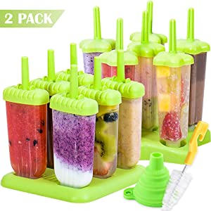 BAKHUK 2pcs Popsicle Mold, Plastic Ice Pop Mold Maker with Funnel and Cleaning Brush, Green