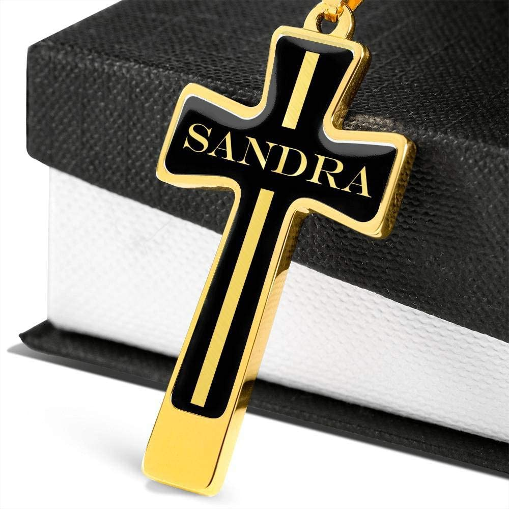Unique Gifts Store Sandra v2-18k Gold Finished Luxury Cross Necklace