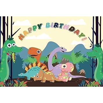 Cassisy 3x2m Vinilo Cumpleaños Telon de Fondo Feliz cumpleaños Bandera Dinosaurio del Bosque Montaña Las Nubes Fondos para Fotografia Party bebé ...