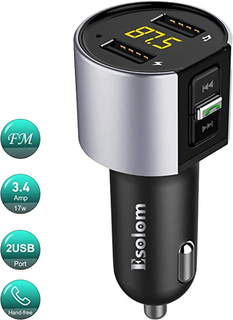 Car charger Bluetooth 5.0 car FM Transmitter Dual USB Port and LED Display Hands-Free car Tool