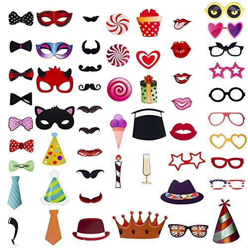 56 pieces Photo Booth Props Kit for Party & Birthday & Wedding with Mustache,Hats,Glasses,Lips,Bowties (56pcs)