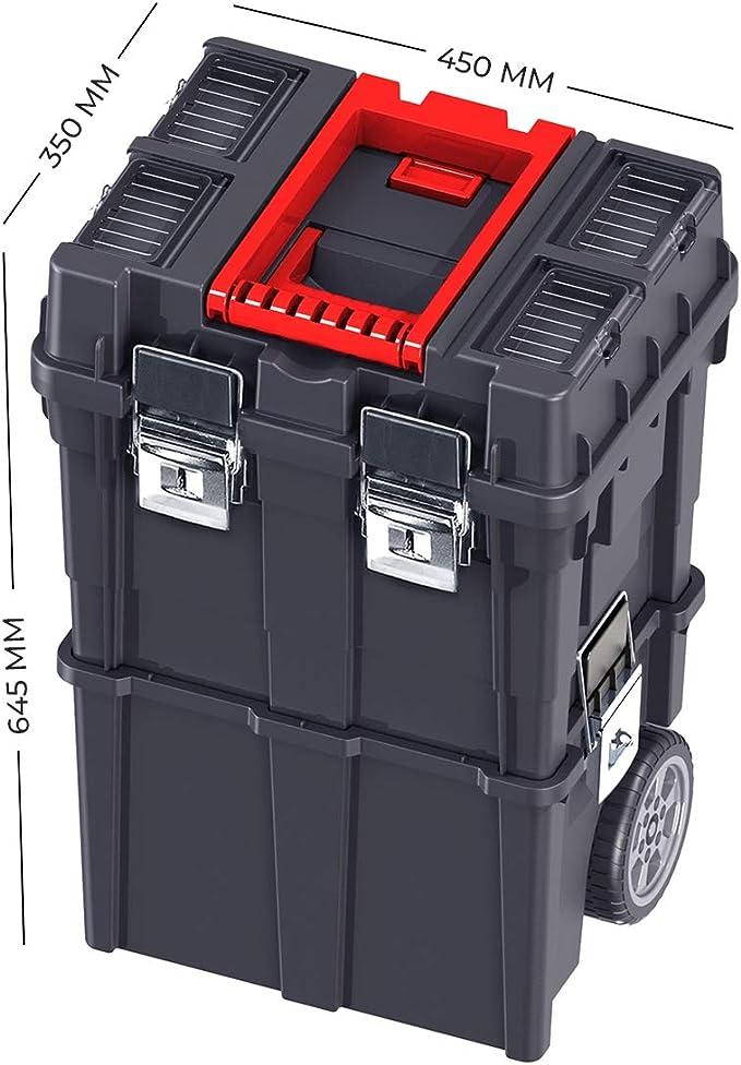 CAJA de HERRAMIENTAS Vacía con Ruedas Plástico 35x45x64cm Compact ...