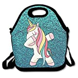 FEAIYEA Hip Hop Cool Dabbing Dab Dance Cute Lovely Unicorn Travel Picnic Lunch Bag Lunchboxes Outdoor Lunch Box Bag Lunch Tote Handbag Convenience For Out