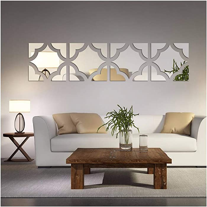 Alrens(TM 20pcs/Set Geometric Art 3D Acrylic Mirror Wall Sticker Home Decor DIY Kitchen Living Room TV Background Decoration